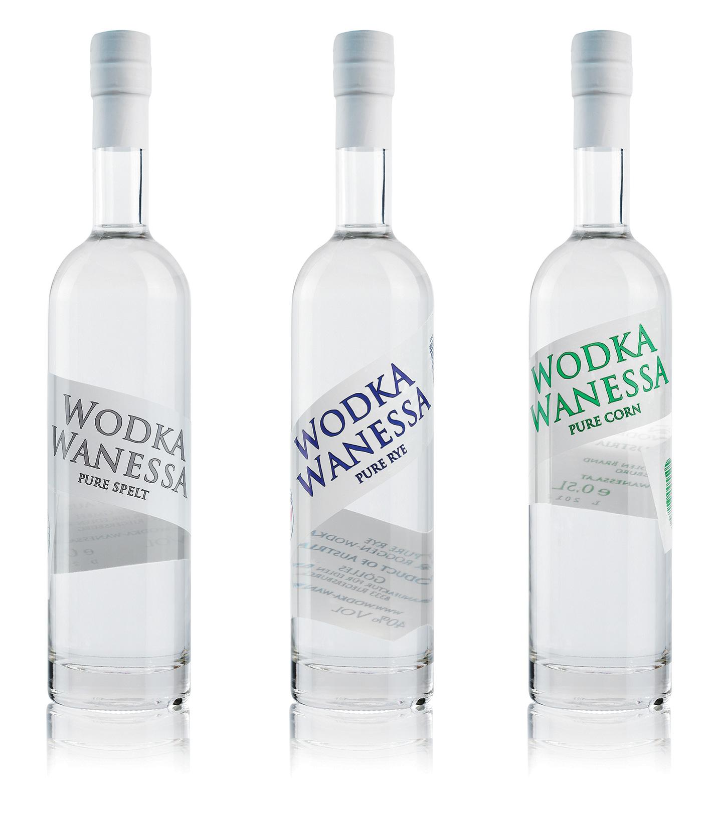 Wodka Wanessa Flaschen Labeldesign