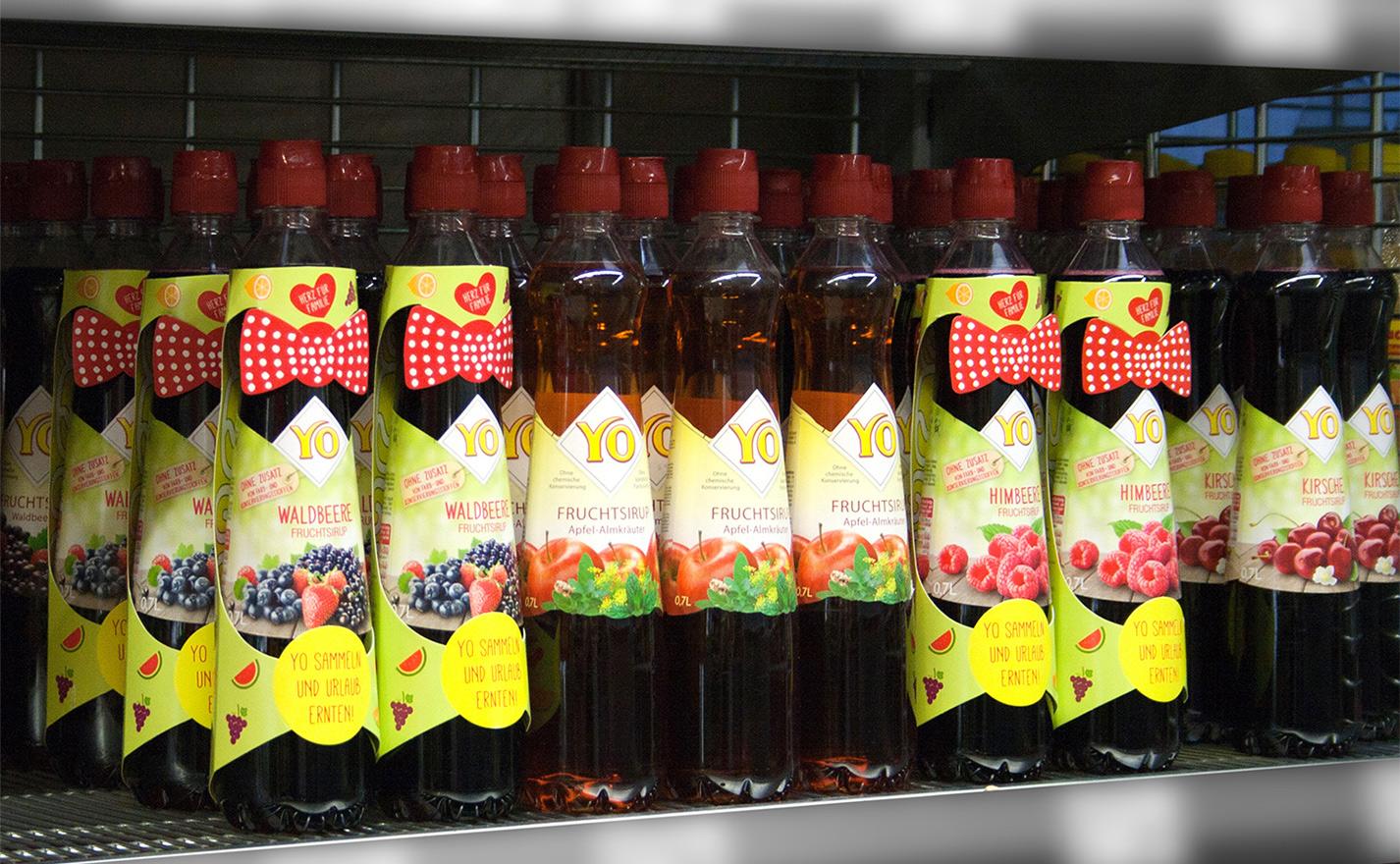 YO Fruchtsirup Promotion Mascherl Shelf impact